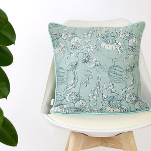Screen Printed Poppy Seedhead Cushion - bedroom