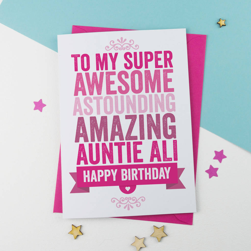 personalised birthday card for auntie aunt aunty by a is for