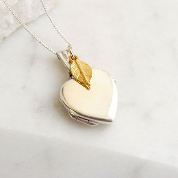 Silver Heart Locket With Gold Leaf Necklace