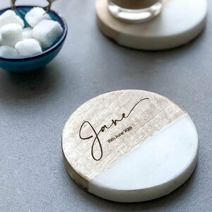 Personalised Marble And Wood Coaster