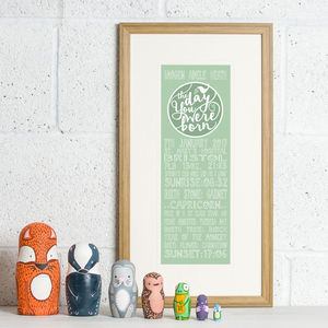 Personalised 'The Day You Were Born' Print - children's room
