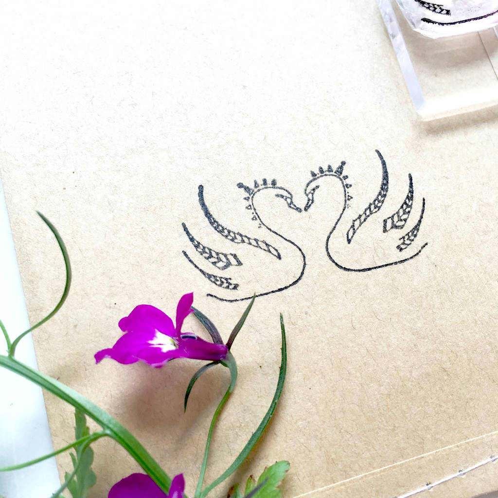 Kissing Swans Clear Rubber Stamp