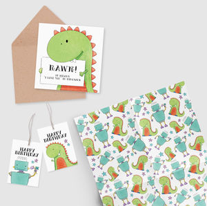 Gift Wrap, Tags And Card Set : Robots And Dinosaurs - shop by category