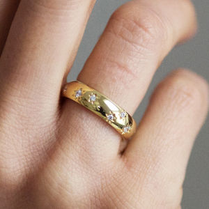 Fairtrade 18ct Gold Diamond Star Wedding Ring - wedding rings