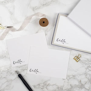 Hello Letterpress Notecard Set Of Six - writing