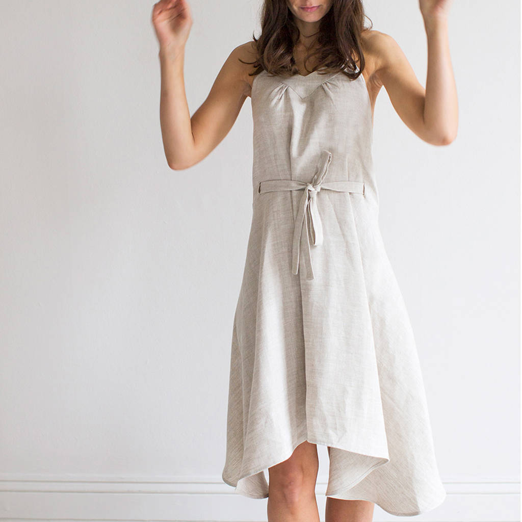 Oatmeal Linen Wrap Dress By The Linen Works