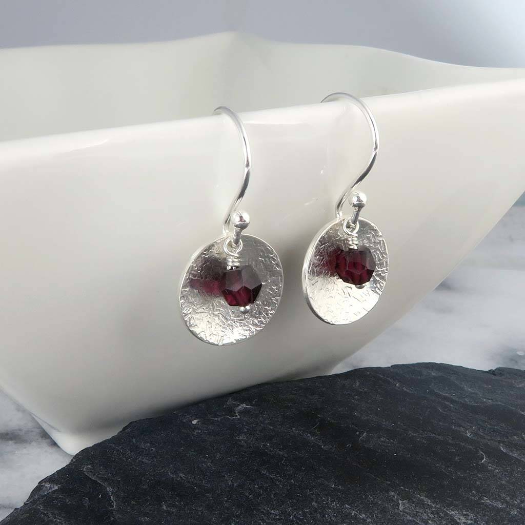 Garnet And Silver Disc Earrings January Birthstone