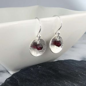 Garnet And Silver Disc Earrings January Birthstone - earrings