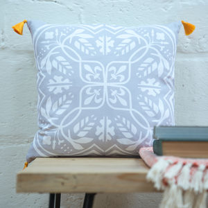 Moroccan Tile Cushion In Grey