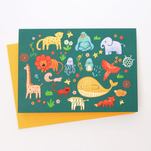 A Blank Brightly Coloured Animals Greetings Card - all purpose cards