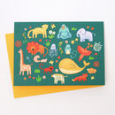 A Blank Brightly Coloured Animals Greetings Card