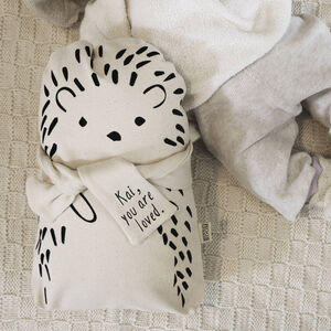 Personalised Baby And Child Hedgehog Cushion With Name
