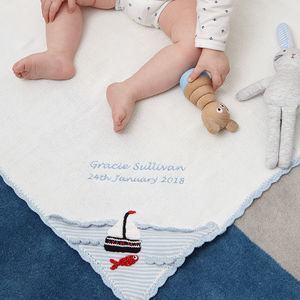 Personalised Knitted Boat Baby Blanket - our 12th birthday collection