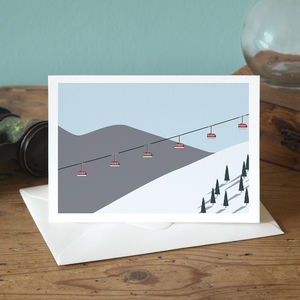 Winter Ski Lift Greetings Card - cards