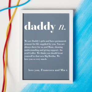 Personalised Dad Or Daddy Dictionary Print - gifts for fathers