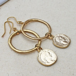 Coin Hoop Earrings - lucky charm jewellery