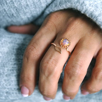 Rose Gold Fire Opal Wrap Ring