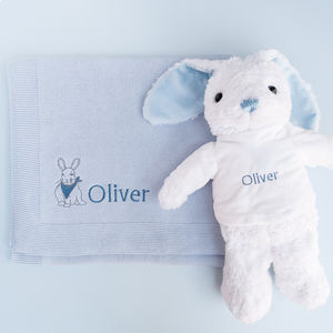 Personalised Baby Boy Bunny With Blanket - gift sets