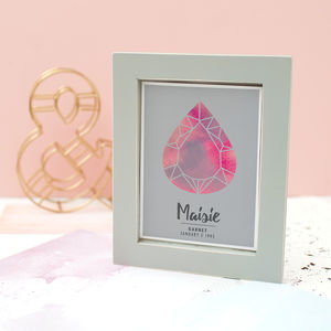 Personalised Geometric Birthstone Framed Print - dates & special occasions