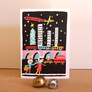 Pack Of Five Christmas Cards With Rabbits In The City