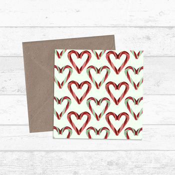 Candy Cane Hearts Patterned Greetings Cards