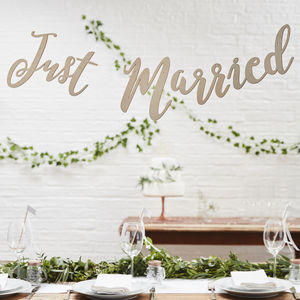 Wooden Just Married Wedding Bunting - home accessories