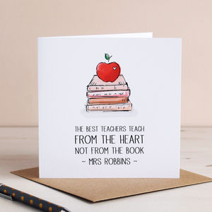 From The Heart, Personalised Teacher Card