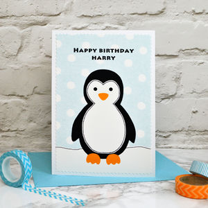 'Penguin' Personalised Boys Birthday Card