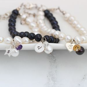 Pearl Bracelet Personalised With Birthstone And Initial