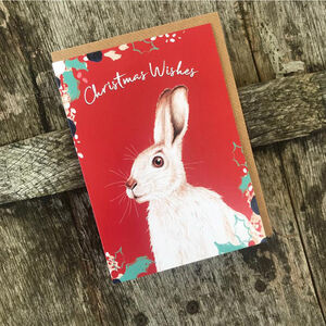White Hare Christmas Card Blank Inside