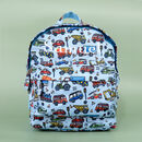 Personalised Blue Car Kids Backpack