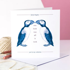 Personalised Valentine Card; Kissing Puffins