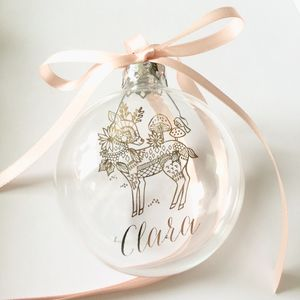 Deer With Personalised Name Christmas Bauble - christening gifts