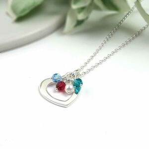 Birthstone Heart Necklace Sterling Silver