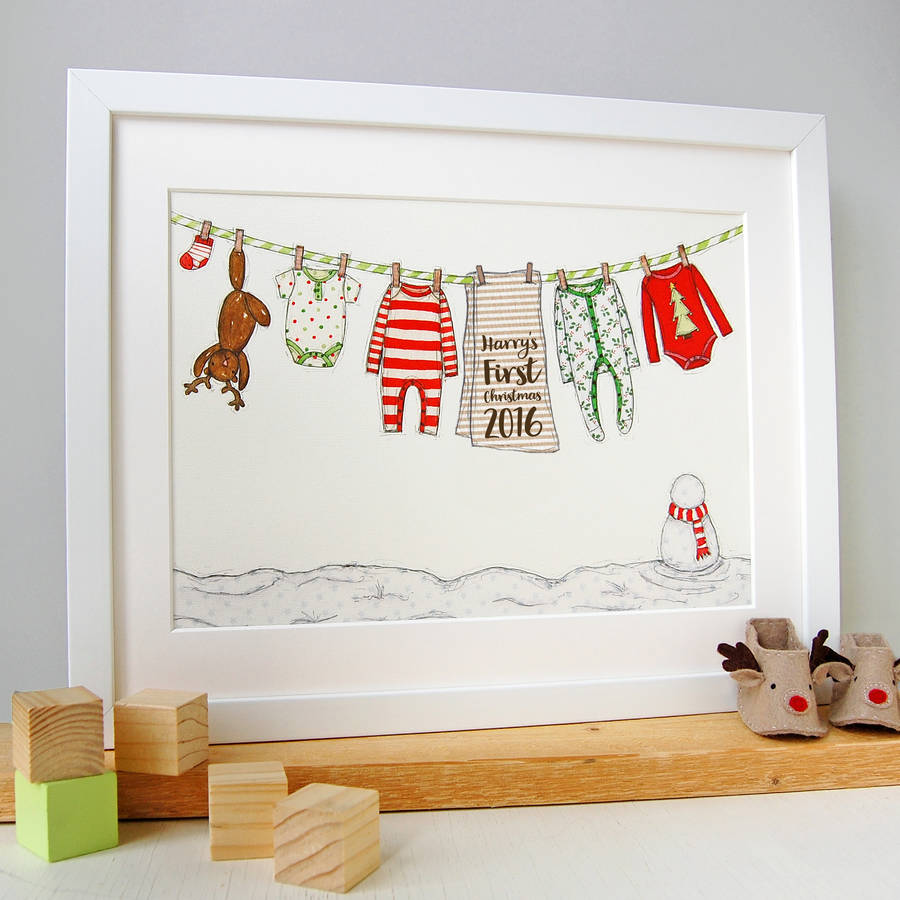personalised babys first christmas print personalised illustrated christmas print