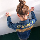 Kids Personalised Denim Jacket Fringed Gold Letters