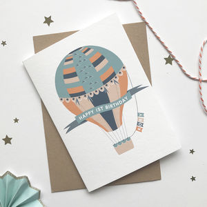 Hot Air Ballon Personalised Birthday Card - special age birthday cards
