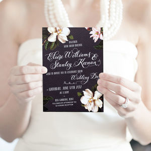 Black Magnolia Wedding Invitation Suite - invitations