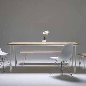 Whitewashed Oak Dining Table With Choice Of Steel Legs - side tables