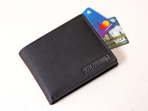 Personalised Black Leather Wallet - sale