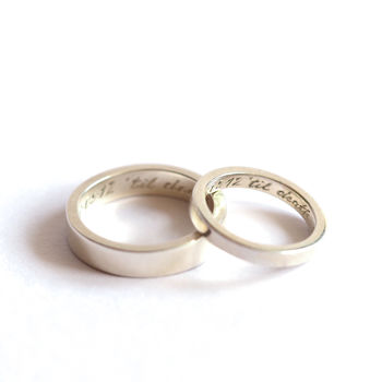 Pair Of Rings, Personalised Siver Bands