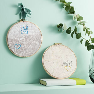 Personalised Cotton Hand Embroidered Map Hoop - personalised wedding gifts
