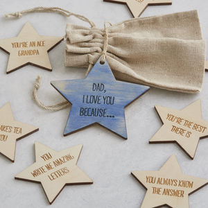 I Love You Because Personalised Star Tokens For Him