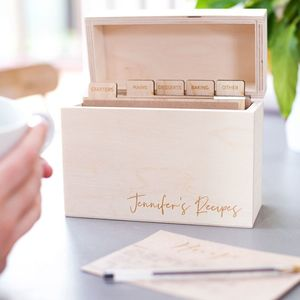Personalised Modern Wooden Recipe Box