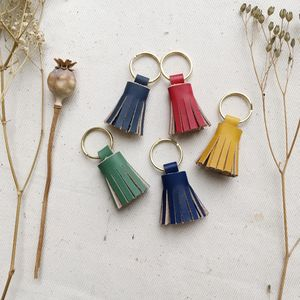 Small Leather Tassel Keyring - luxury leather accessories