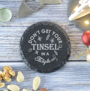 Christmas Tinsel Engraved Personalised Coaster