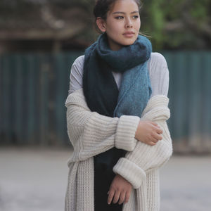 Fairtrade Dip Dye Luxury Ethical Mohair Shawl Scarf - scarves