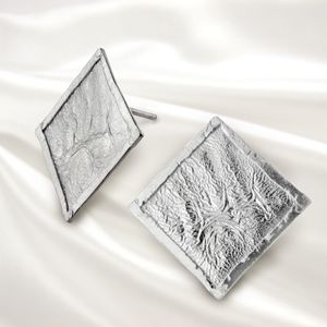Square Textured Sterling Silver Stud Earrings - earrings