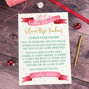 Father Christmas Or Santa Claus Nice List Certificate