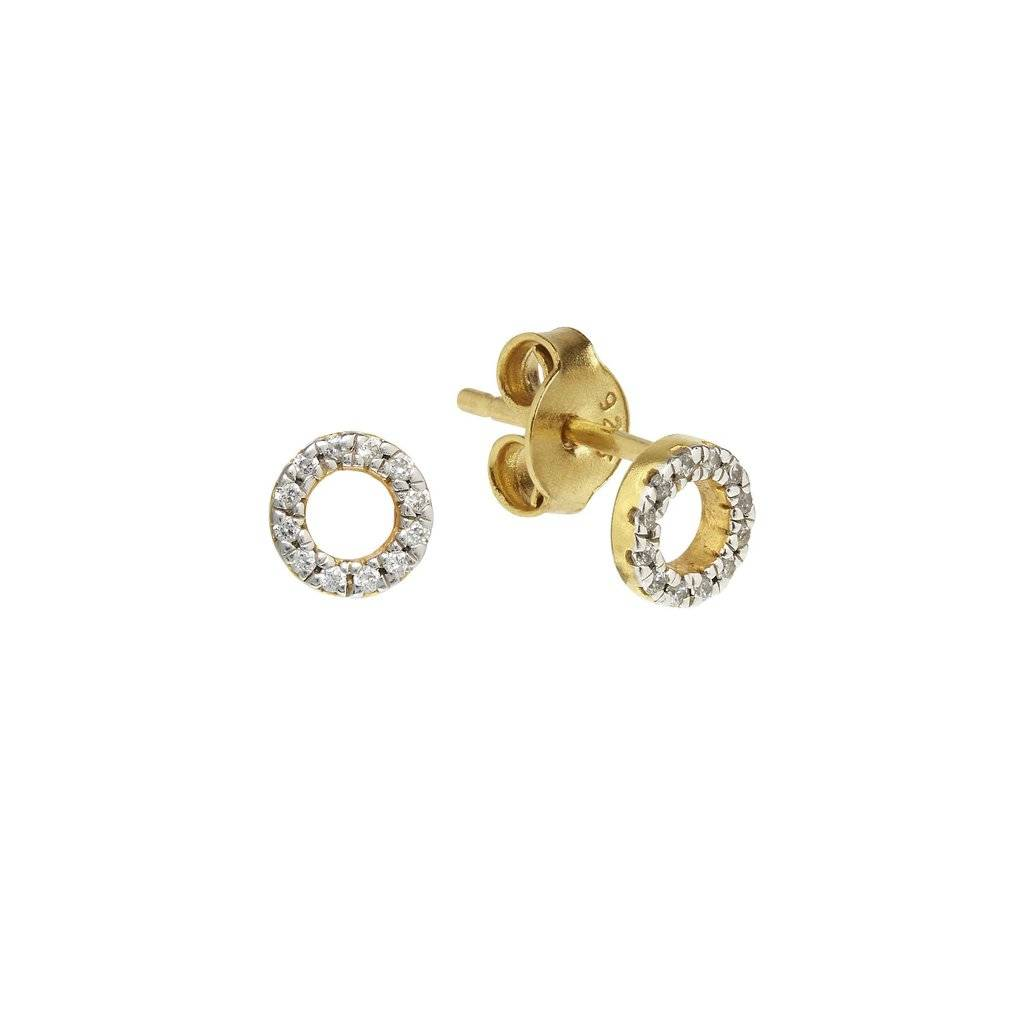 by tomfoolery circle tier open metier stud m yellow single earring gold